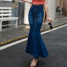 Cintura alta calças de brim longas saias para as mulheres 2019 moda coreana single-breasted magro hip bodycon envoltório saia maxi denim sereia saia