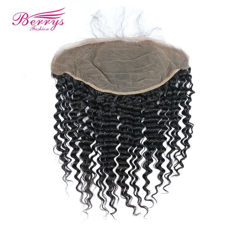 [Berrys Fashion] 13x6 Lace Frontal Brazilian Deep Wave Virgin Hair Natural Hairline Free Part Swiss Lace Natural Color 10-20