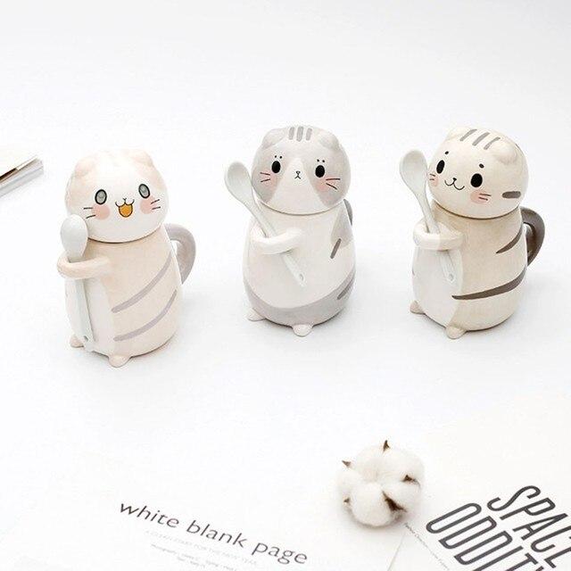 Cute Cat Mug With Lid Handmade Printed Coffee Cups And Mugs With Cat Lid Spoon Ceramic Creative Cartoon Cat Coffee Mug Cup 1