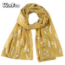Winfox Fashion Glitter Scarf Women Pink White Grey Yellow Wheat Flower Foil Sliver Scarfs For Ladies