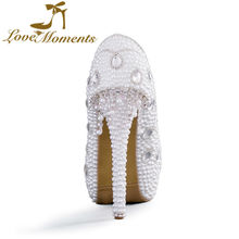 Love Moments shoes woman pearl crystal white  ivory shoes platform wedding shoes bride  high heels pumps party shoes for womn