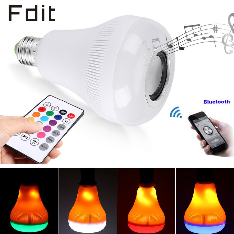 18W RGB E27 LED Music Light Bulb LED Flame Effect Fire Light Bulb Bluetooth Speaker with Wireless Remote Control