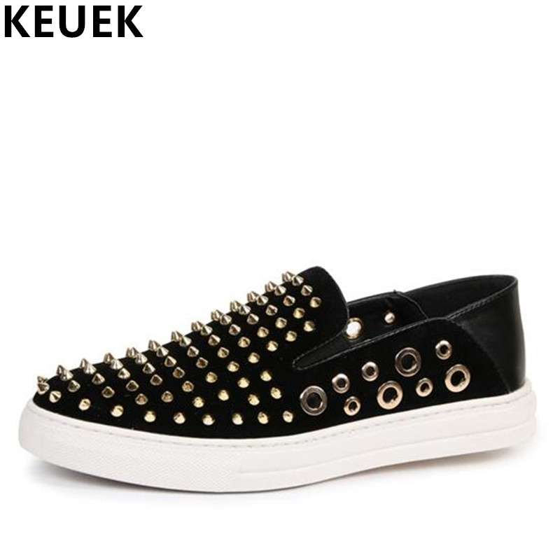 Fashion Slip-On Men Rivets Flats Split Leather Breathable Casual Loafers superstar shoes chaussure homme Youth popular shoes 021 2017 brand new spring men fashion loafers shoes slip on flats genuine leather shoes young men breathable casual shoes wa 32