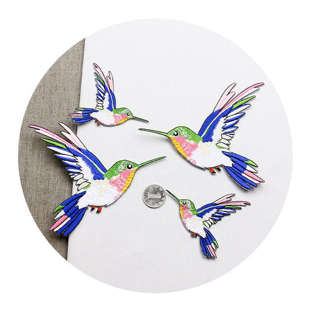 New symmetric hummingbird cloth paste small size bird patches denim bag clothing decoration paste adhesive embroidery patch bird