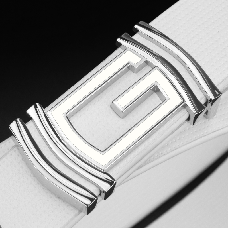 High Quality fashion G buckle luxury white belt men designers exquisite genuine leather belt male cowhide for jeans Waist Strap