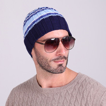 Vertical striped stripes men and women wool hat warm sets of head hat knitted hat outdoor skiing autumn and winter hat