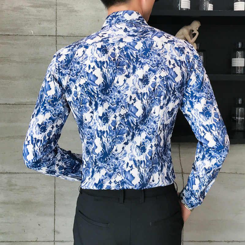 2018 春秋特徴シャツ男性花パーティードレスクラブシャツ新着長袖カジュアルスリムフィット男性シャツ