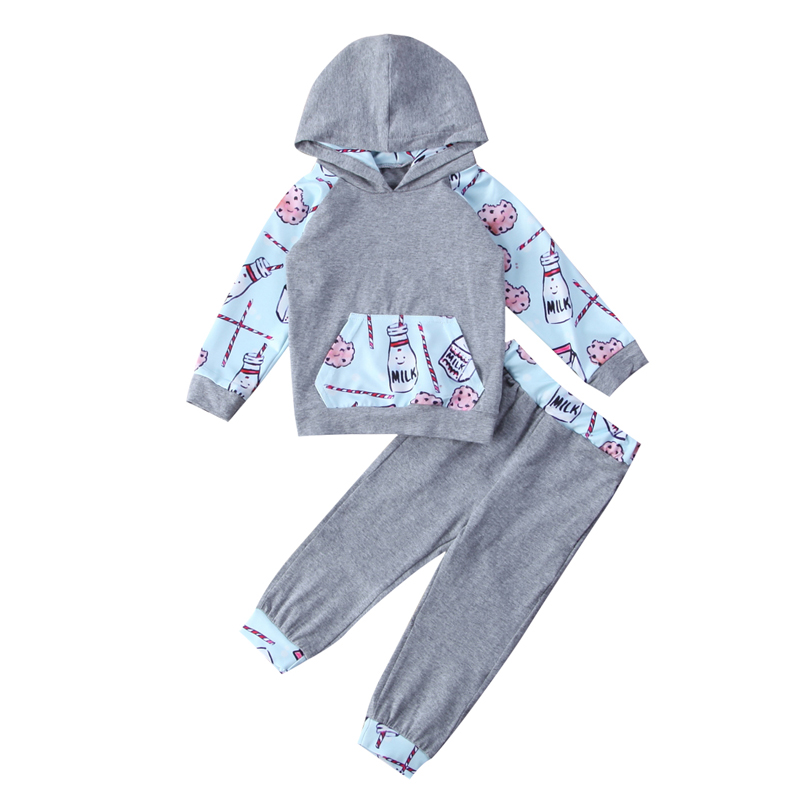 New Casual Toddler Baby Boys Girls Print Milk Tops Hoodie Pants Home Outfits 2Pcs Set Clothes 0-24M