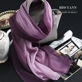 Genuine Silk Women Scarf Fashion Classic Gradient Purple Scarves 2016 Summer Autumn Winter Good Quality Necklace Shawl