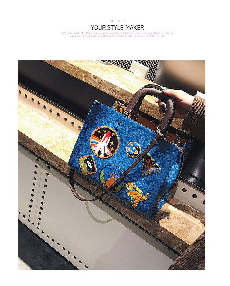Women Rocket Space Tote Bag Pu Leather Handbag 2018 Autumn And Winter Black Blue Badge Lady Hand Bag Casual Single Shoulder Bag 14