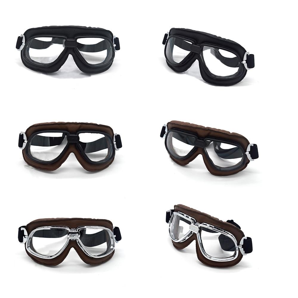 Lunettes Moto Vintage Cuir Moto Motocross Dirt Bike Goggles Transparent Glasses Ski Goggles Black Silver Frame