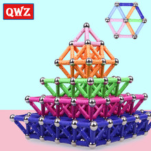 QWZ Magnet Toy Bars Metal Balls Magnetic Designer Building Blocks Construction Toys For Children Educational Toys For Kids Gifts(China)