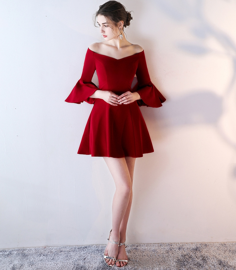 Women Elegant Flare Bell Sleeve Fashion Vintage Pinup Formal Party   Cocktail     Dress   2019 Wine Red Homecoming   Dresses