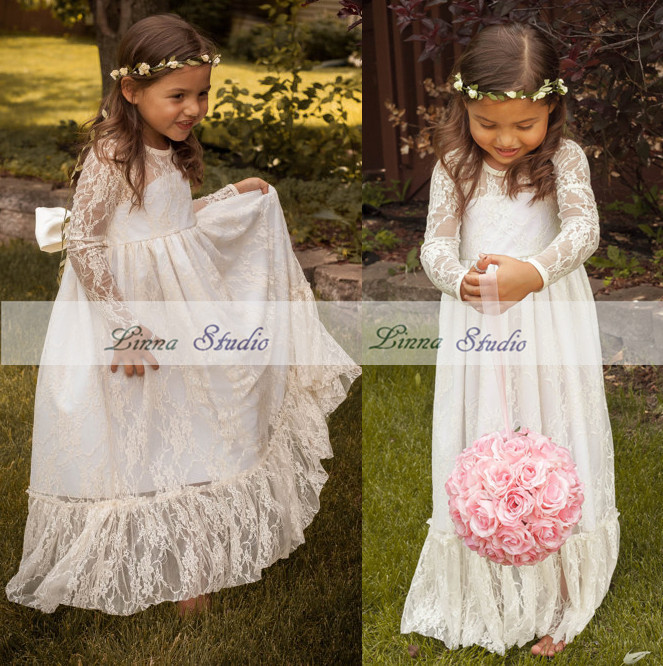 2017 Lace Long Sleeve Flower Dress Bow Sash Wedding Children Junior Bridesmaid Dresses Kids Vestido In From Mother On