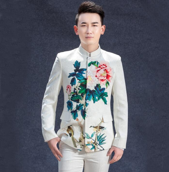men suits designs masculino homme terno stage costumes for singers men printing blazer dance long sleeve man clothes jacket