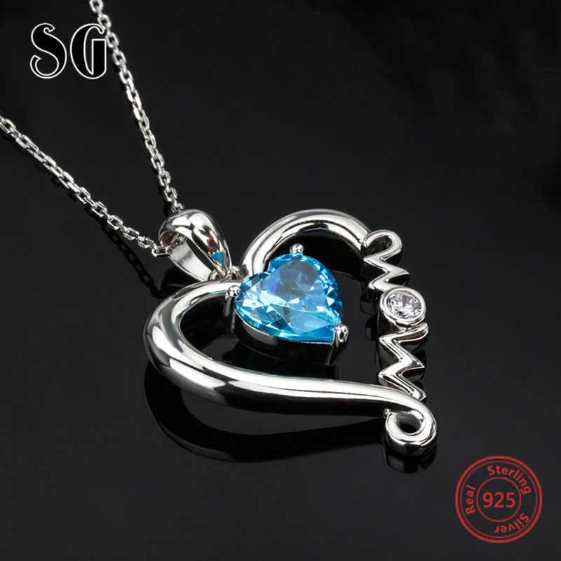 100% 925 sterling silver Mom love heart pendant chain necklace with blue CZ diy fashion jewelry making for Mother's day gifts original dropshipping my sweet pet paw love necklace girl 925 sterling silver pendant necklace for women fashion jewelry gifts