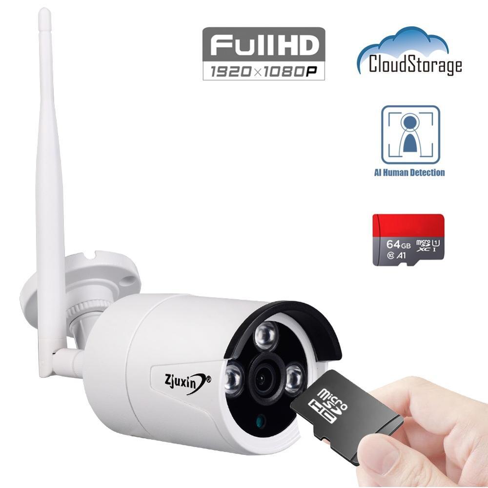 Zjuxin 2.0MP AI 1080P HD Sem Fio Wi-fi Câmera IP Nuvem Onvif Ao Ar Livre À Prova de Intempéries de Visão Noturna Infravermelha Câmera De Segurança Com TF