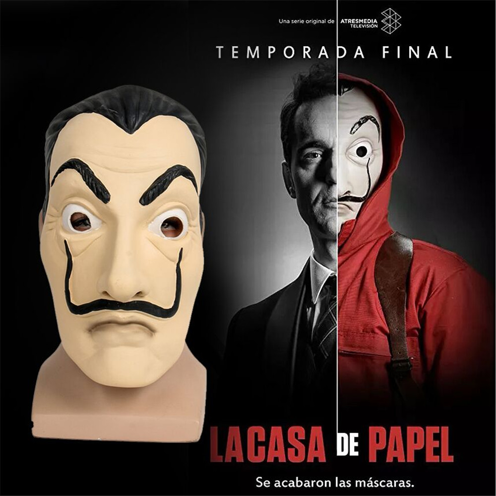 2018 La Casa De Papel Mask Salvador Dali Face Mask Masque Mascara de Dali Money Heist Halloween Realistic Movie Prop Beard mask