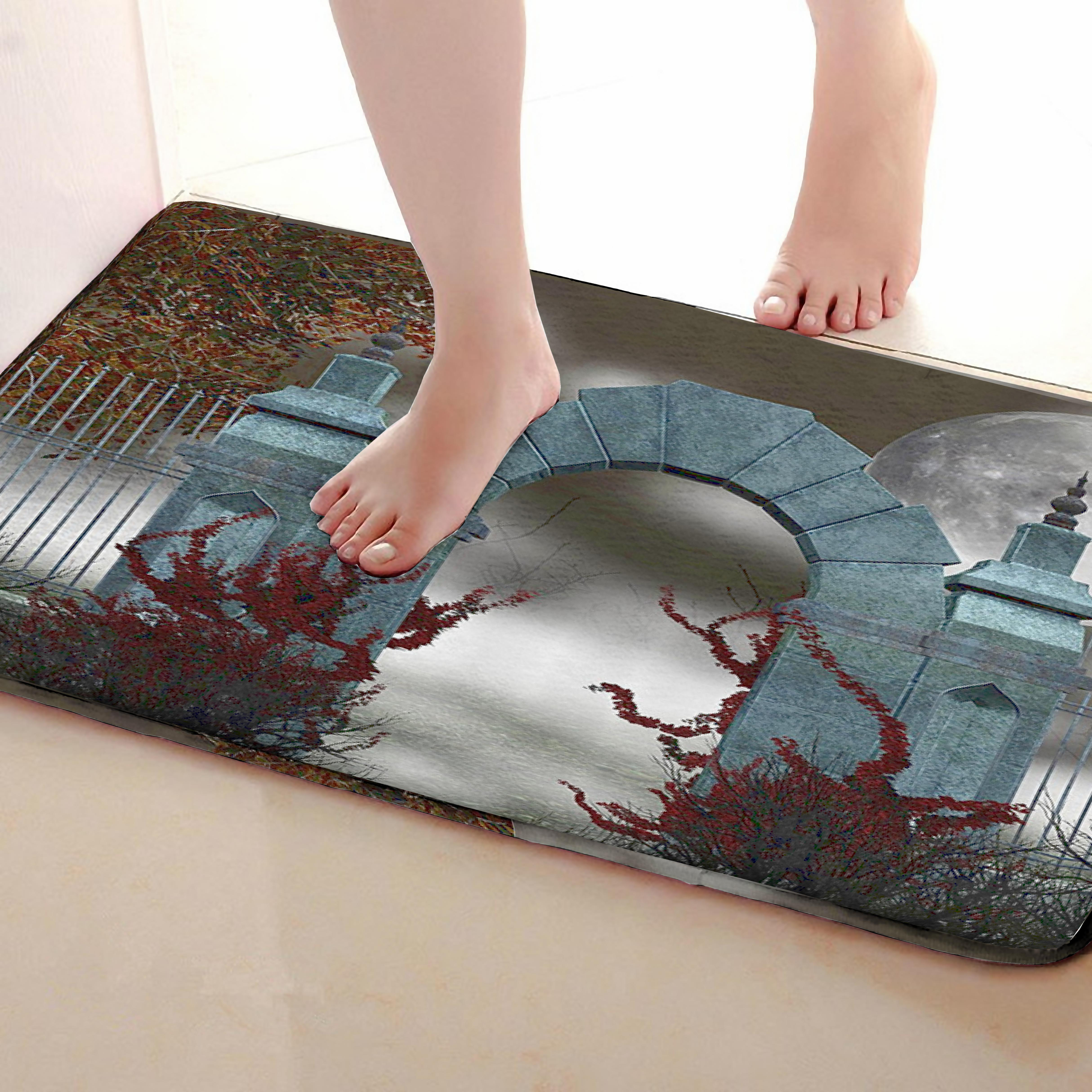 Door Style Bathroom Mat,Funny Anti skid Bath Mat,Shower Curtains Accessories,Matching Your Shower Curtain