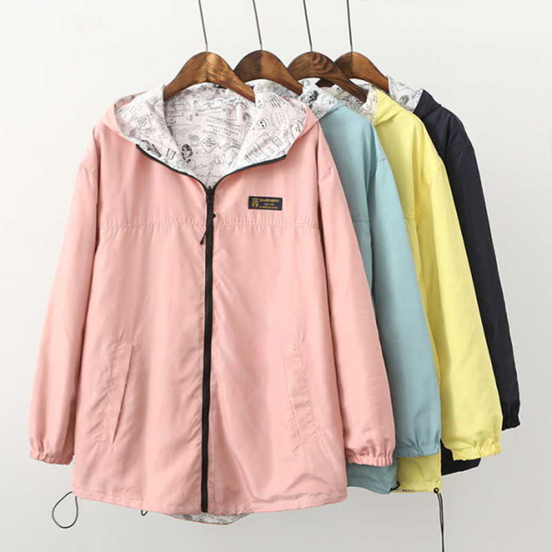 2018 Spring Fashion women harajuku   Basic     Jacket   Pocket Zipper hooded two side wear Cartoon print outwear loose plus size