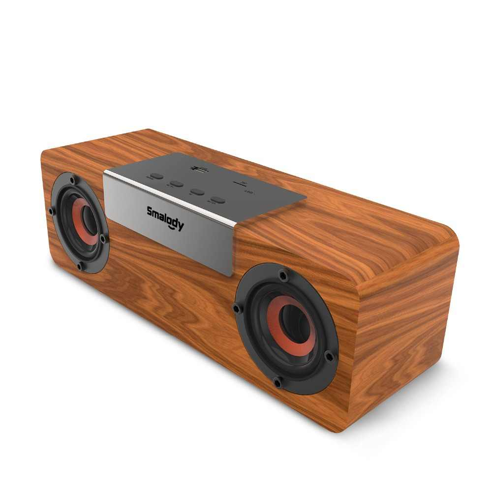 Smalody Nirkabel Bluetooth Speaker Kayu TV Soundbar Stereo Bass Pengeras Suara Komputer PC Desktop BOOMBOX USB FM Radio Kotak Suara