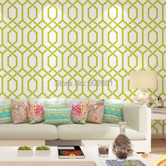 6257 Modern Hourglass Trellis WallpaperHerringbone Geometric Home Wall PaperGreen Orange 2colors W053mL10m Roll In Wallpapers From Improvement On