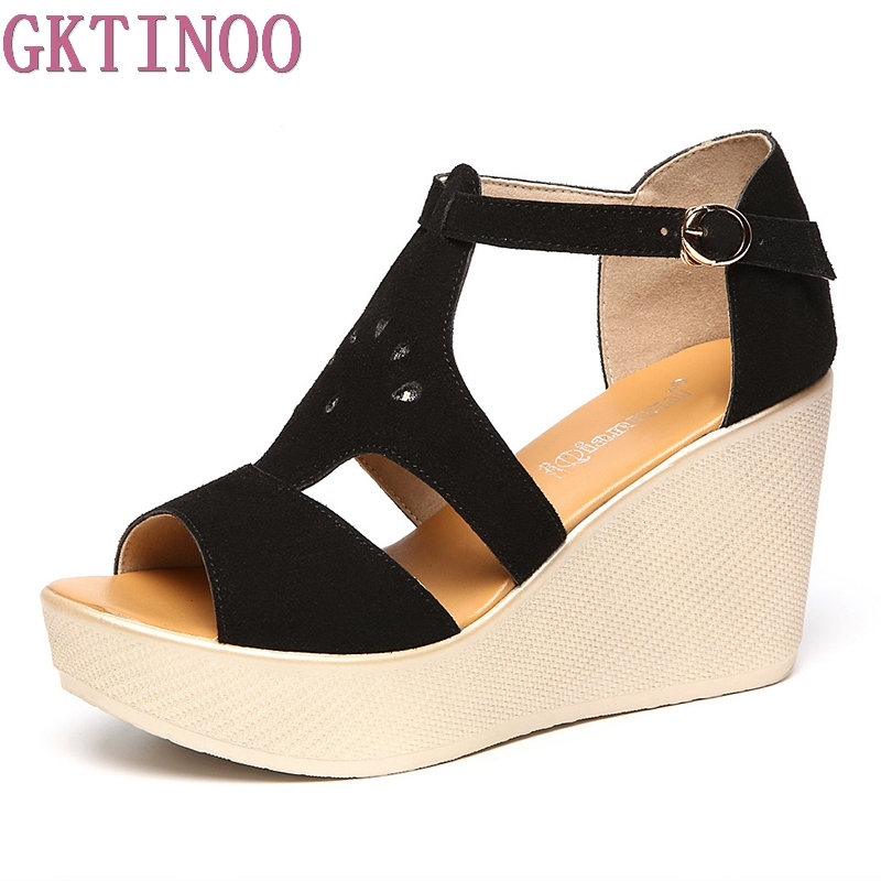 GKTINOO Woman Sandals 2018 Summer Women Platform Open Toe Casual Shoes Woman Fashion Thick Bottom Wedges Sandals gktinoo summer shoes woman genuine leather sandals open toe women shoes slip on wedges platform sandals women plus size 34 43