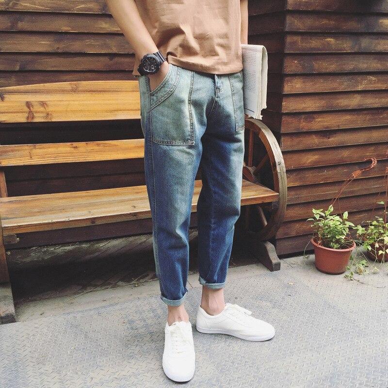 2017 New All Season Fashion Men Vintage Casual Mid Wasit Ankle-length Washed Slim Jeans Baggy Denim Harem Pants For Male BM пена монтажная mastertex all season 750 pro всесезонная
