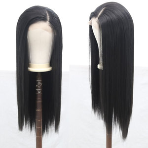 Image 2 - Bombshell Black Pink White Synthetic Lace Front Wig Glueless Straight Heat Resistant Fiber Hair Natural Hairline For Women Wigs