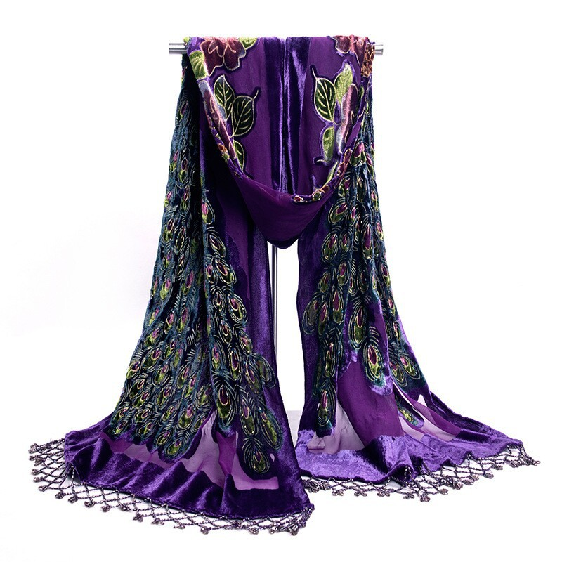 Free Shipping Purple Women's Velvet Silk Beaded Embroidery Shawl Scarf Wrap Scarves Peafowl WS006-G