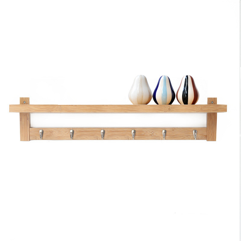 Us 56 05 5 Off Bamboo Fashion Simple Hall Hook Storage Rack Wall Shelves Coat In Racks From Furniture On Aliexpress 11 Double