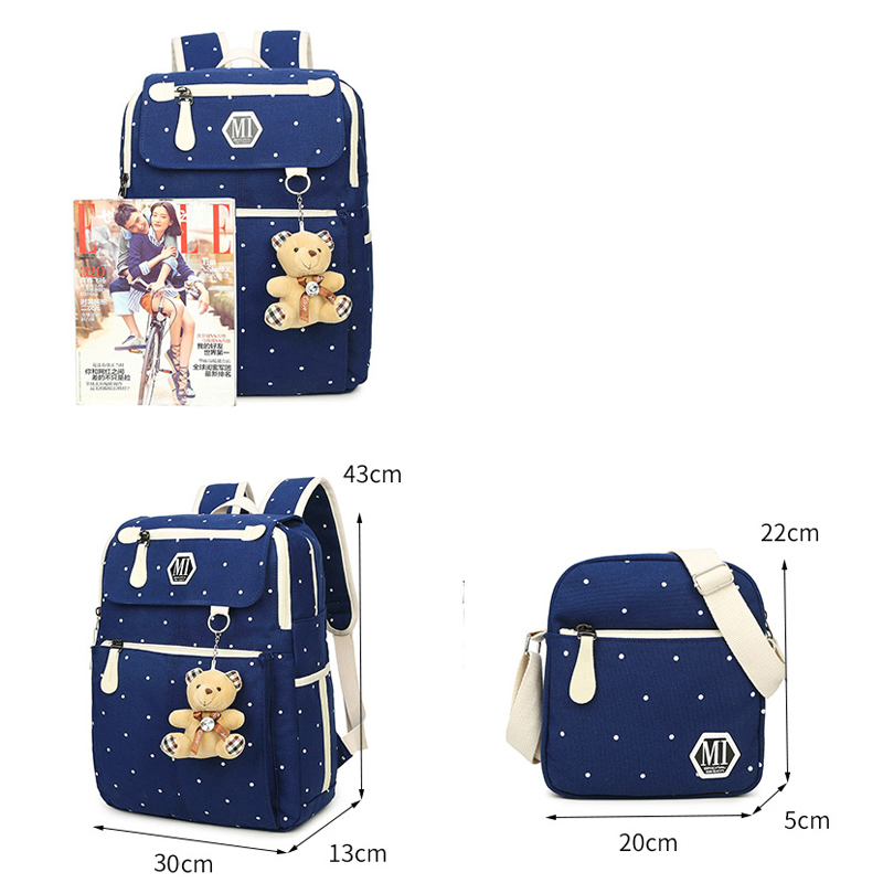 Image 4 - Women Canvas 4Pcs/set School Backpacks College Schoolbag Fashion Plecak for Teenager Girl And Boys Rucksack Moclila Shoulder Bag-in School Bags from Luggage & Bags