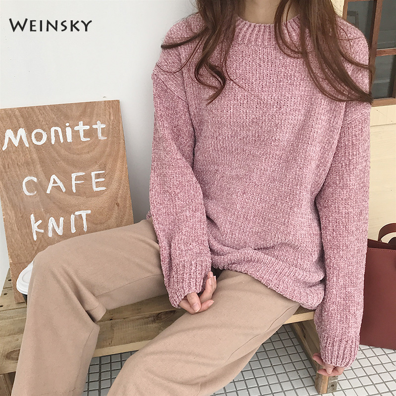 Weinsky Casual Women Knitted Sweaters And Pullovers Ladies Long Sleeve Autumn And Winter 2018 Korean Oversized Pink Sweaters
