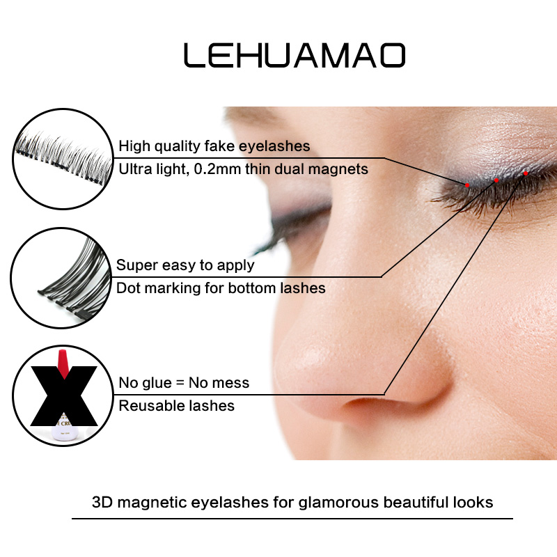 russian lash extension Magnetic False Eyelashes Soft Mink Magnet Fake Eyelash Natural Eye Lashes magnetic Extension Makeup Tool