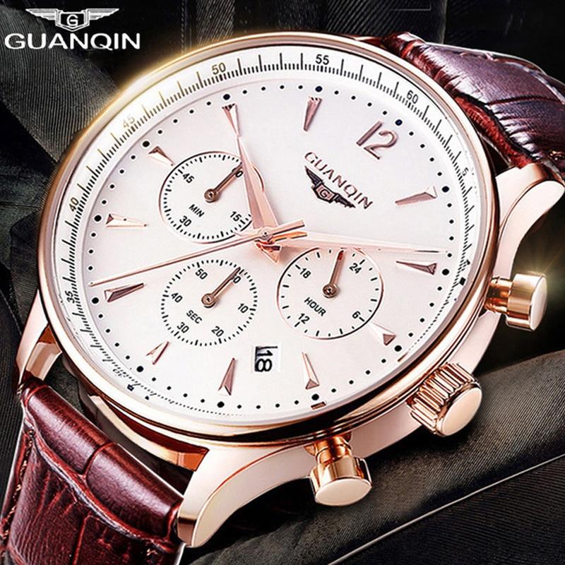 GUANQIN Mens Watches Top Brand Luxury Chronograph Military Sport Quartz Watch Classics Men Casual Retro Leather Strap Wristwatch