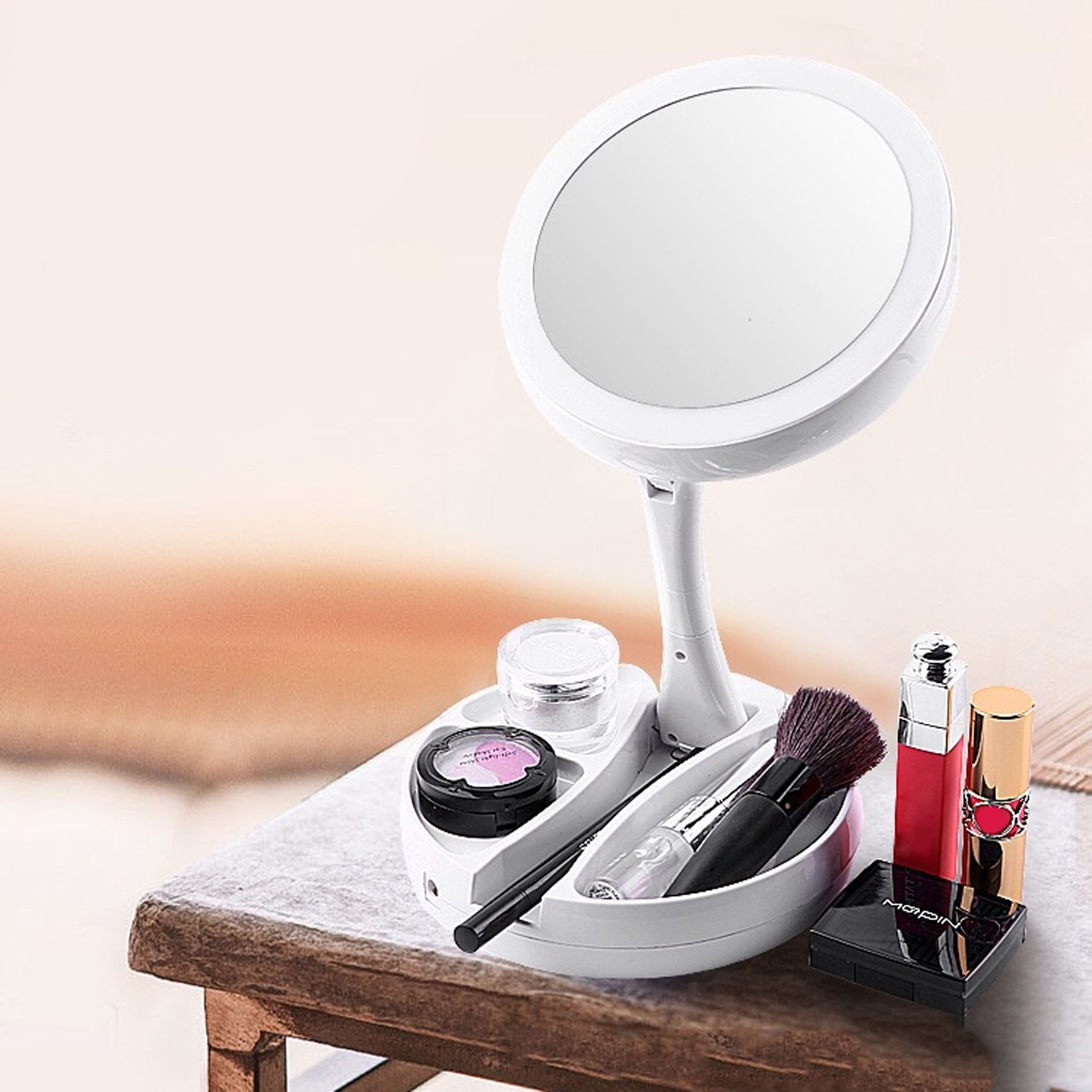 LED Lighted Folding Makeup Mirror 360 Degree 10X Magnifying Mirror With Lights Cosmetic Lighted Makeup Mirror Foldable Mirror