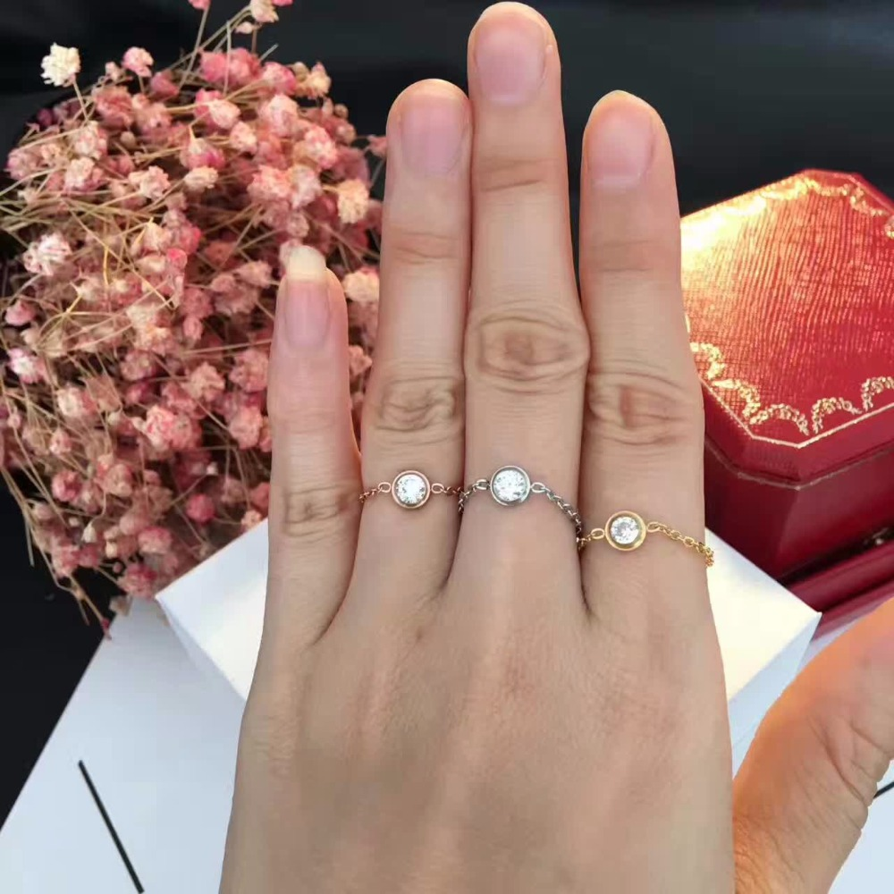 silver Zirconia Stone Rings For Women Fashion Jewelry ,rose gold chain Knuckle ring for girls party jewelry