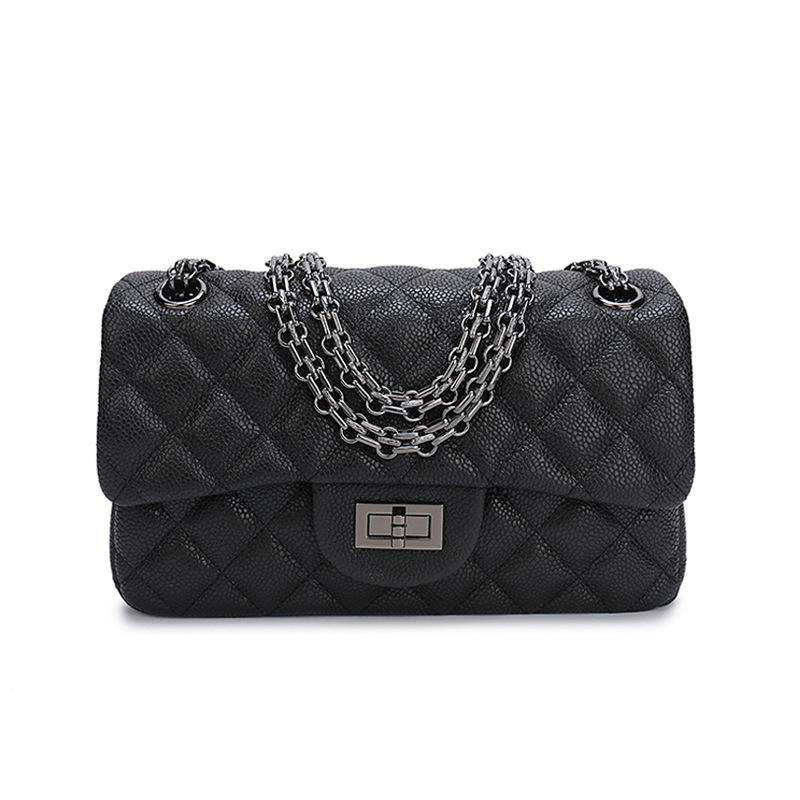 Classic Caviar women's flap shoulder bags luxury genuine Cow Leather Handbag square striped chain Crossbody Bags 2018 new women s high quality leather handbag luxury brand caviar square striped bag metal chain shoulder bag caviar real