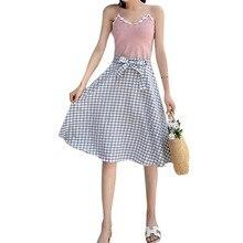 Women Summer Skirts Plaid Print Elegant Thin Pleated Patchwork Chic Girl Long Female A-Line Lace Up Chiffon Midi Skirt