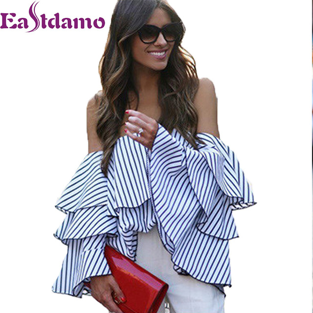 13e0467c34ff21 Eastdamo Off Shoulder Ruffles Blouse Sexy Tops 2017 Casual Blue White  Striped Shirt Long Butterfly Sleeve