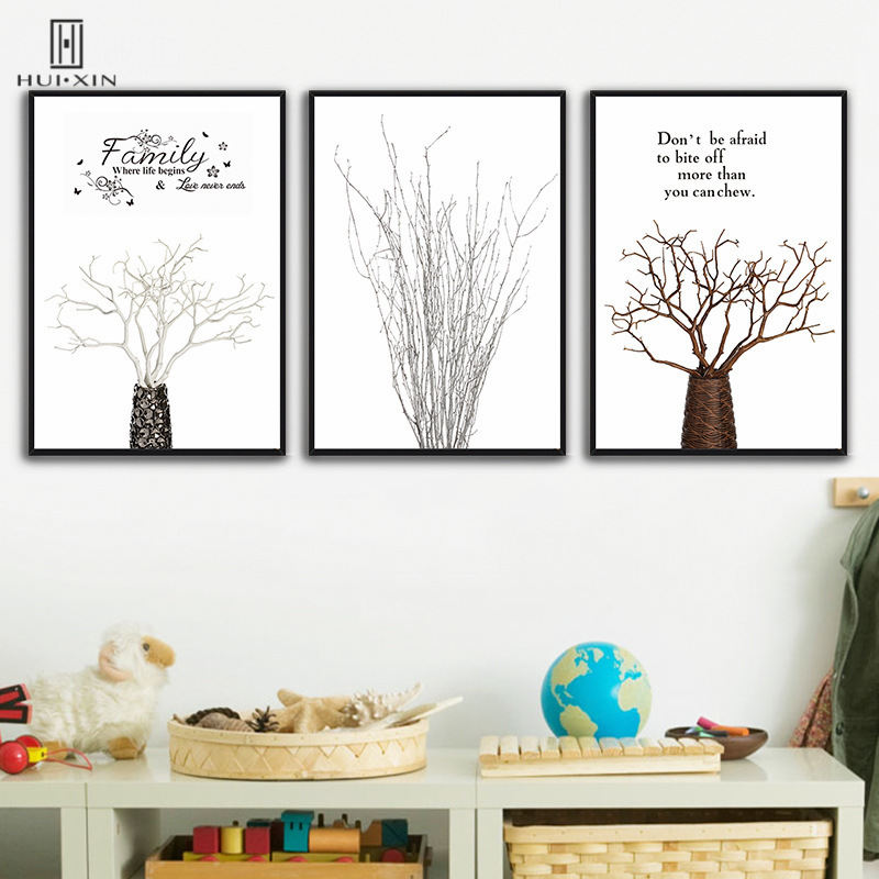 Abstract Style Dead Tree Branches Wall Art Print Decorative Canvas ...