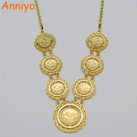 Money Coin Necklace Pendant 60cm Chain Islam Muslim Arab Coins Necklaces Women 18K Real Gold Plated
