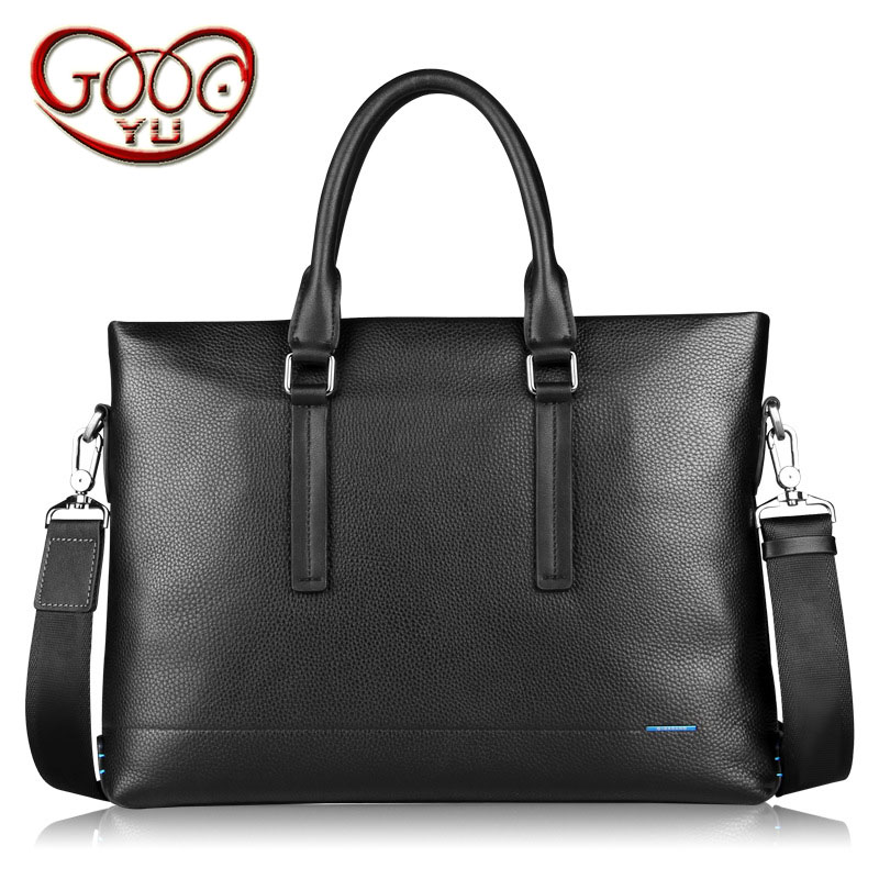 Men's leather cross section zipper computer bag head layer cowhide business briefcase large capacity business multi-functional h