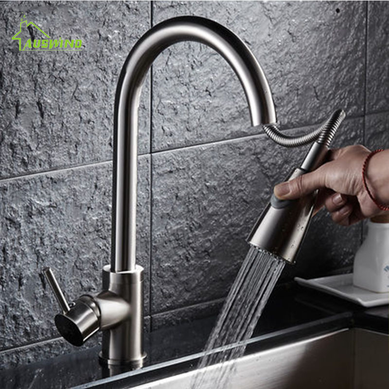 Universal Brass Kitchen Faucet Polished Silver Basin Faucets Single Handle Hole Mixer Water Taps Double Control Pull Out Spray furniture drawer handles wardrobe door handle and knobs cabinet kitchen hardware pull gold silver long hole spacing c c 96 224mm