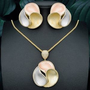 Image 1 - ModemAngel יוקרה אלגנטי גיאומטרי פרח אופנה תליון שרשרת ועגיל לנשים כלה שמלת חתונה אלגנטי תכשיטים