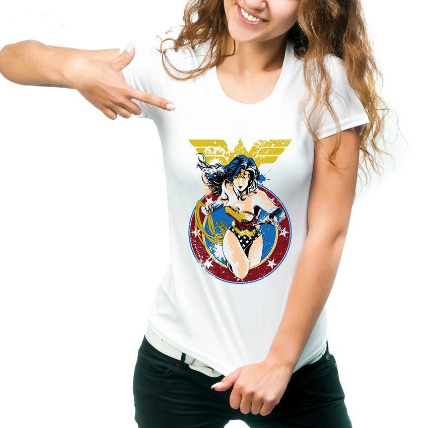 Wonder Woman Printed T-Shirt Women's Fashion Summer Superman Funny Tshirts Cartoon Cool Ladies Short Sleeve Graphic Tee