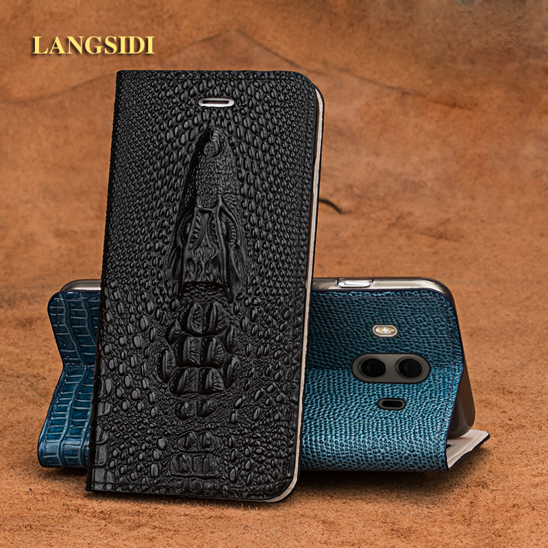 LANGSIDI brand mobile phone shell crocodile head clamshell phone case for iPhone 7 Plus leather phone case full hand-made