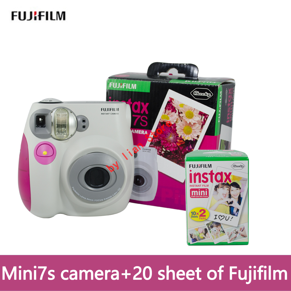 original Fujifilm Instax Mini 7s +film 20 Instant Film Photo Camera Blue and Pink appareil photo instax mini 7S Free Shipping new 5 colors fujifilm instax mini 9 instant camera 100 photos fuji instant mini 8 film