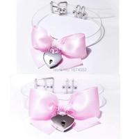 Harajuku Cosplay Kawaii Lolita Big Bow BowKnot  Choker Clear Transparent Vinyl Collar Padlock Lockable Key Necklace