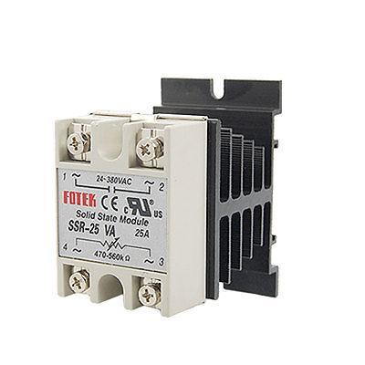 25A AC 380V Solid State Relay Voltage Resistance Regulator w Aluminum Heat Sink normally open single phase solid state relay ssr mgr 1 d48120 120a control dc ac 24 480v